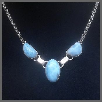 3 Stone Oval Larimar Necklace